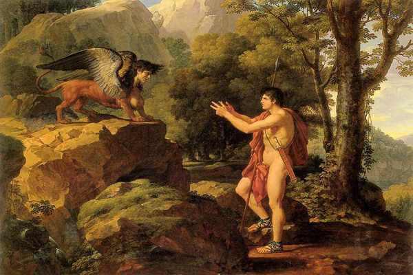 Peinture d'Oedipe et une Sphinge
