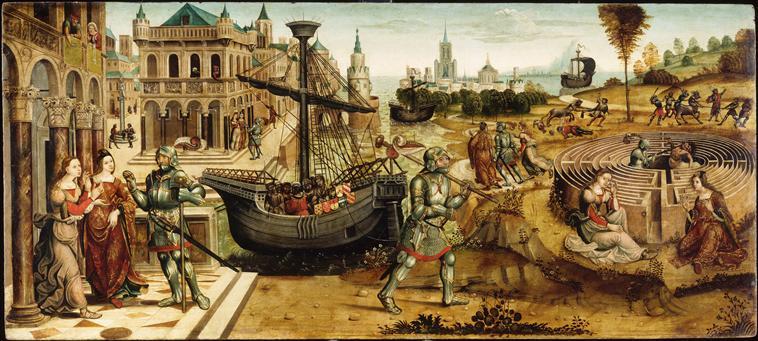 Peinture représentant Thésée et le Minotaure